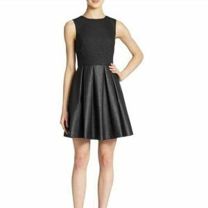 Susana Monaco Black Wool Blend Faux Leather Dress